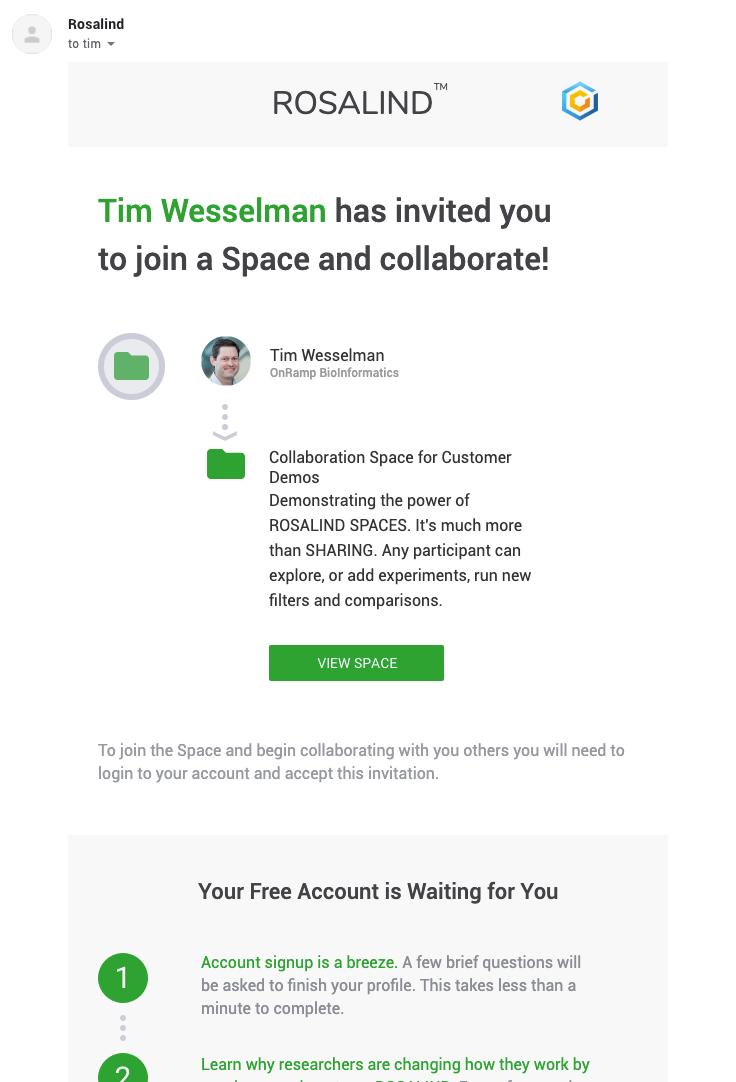Spaces Invite Email