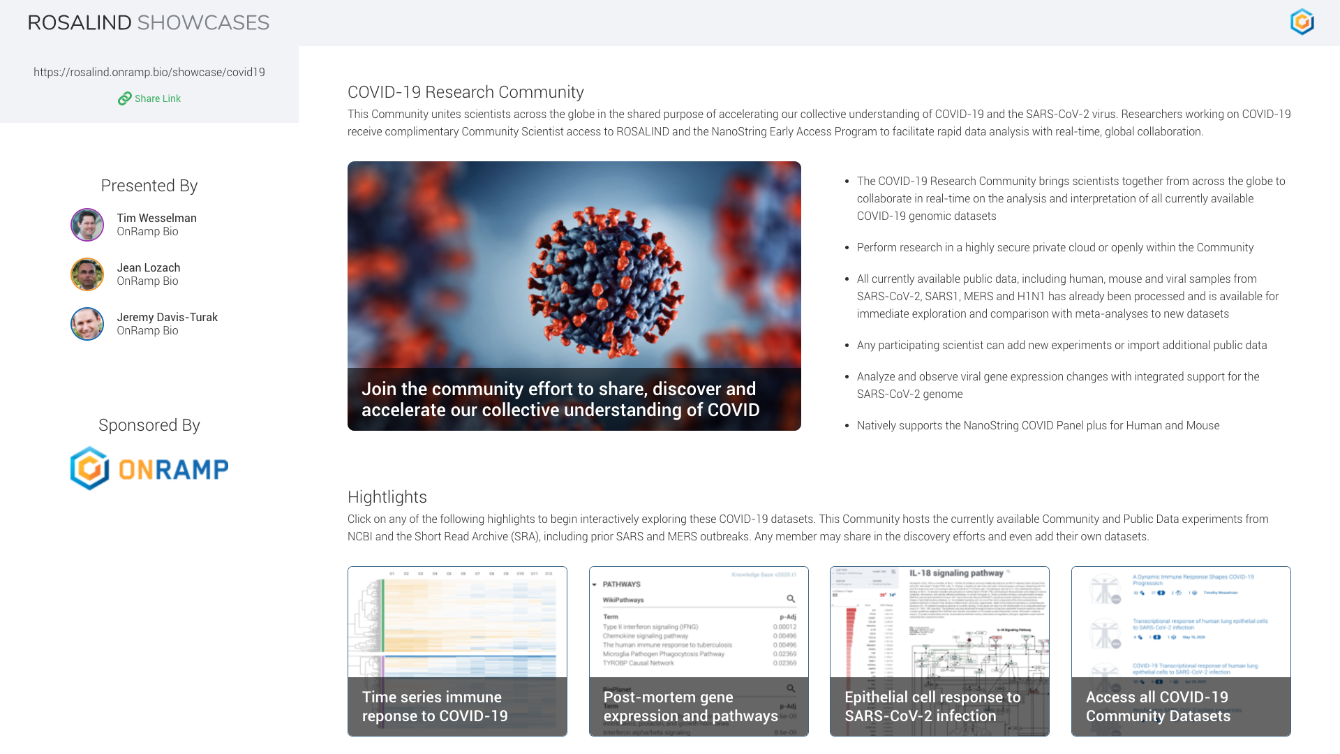 The COVID-19 Research Community on ROSALIND
